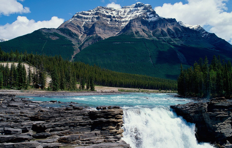 Photo wallpaper the sky, mountain, waterfall
