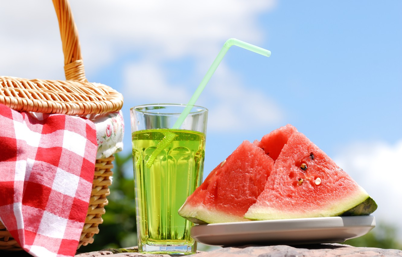 Photo wallpaper summer, water, basket, watermelon, tube, drink, picnic