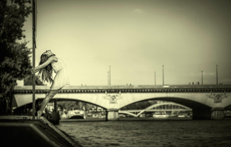 Photo wallpaper girl, bridge, river, dance, dress, grace
