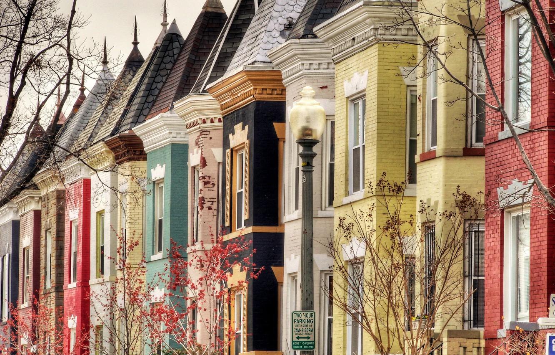 Photo wallpaper trees, street, Windows, building, home, roof, lantern, Washington, USA, USA, Washington, tile, Colombia, Bloomingdale