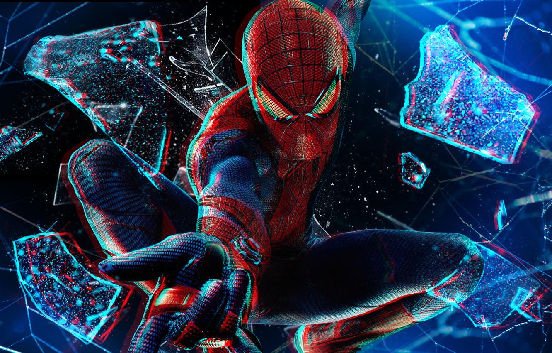 Photo wallpaper in flight, broken glass, 1080p, Spider man