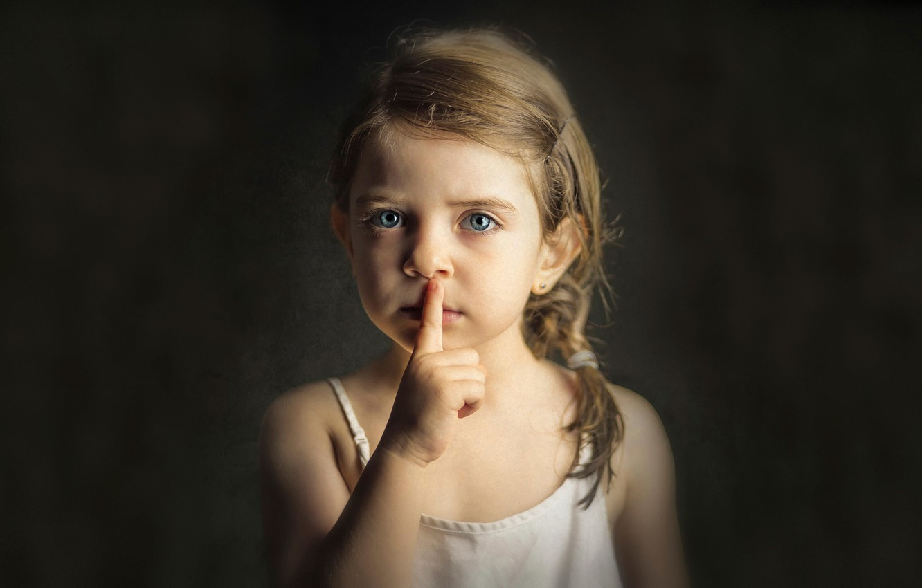 Photo wallpaper portrait, girl, the sign of silence