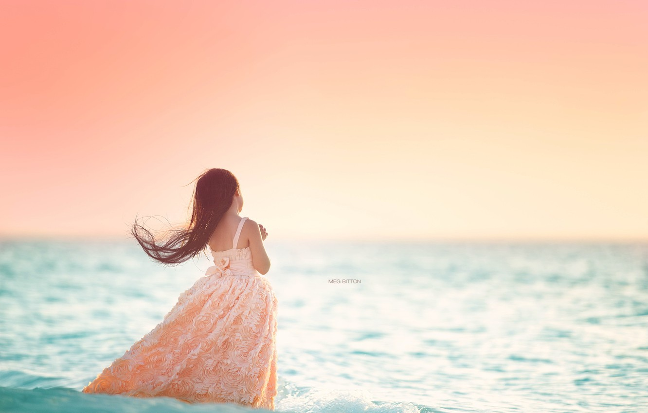 Photo wallpaper sea, background, girl