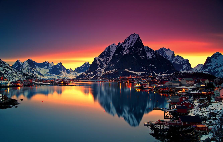 Photo wallpaper winter, the sky, snow, mountains, night, lights, lake, dawn, home, Norway, Lofoten