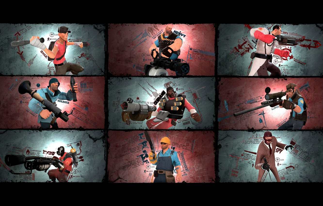 Wallpaper Soldiers Team Fortress 2 Medic Characters Sniper