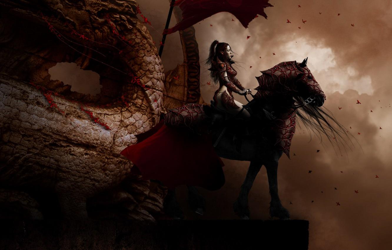 Photo wallpaper fantasy, dragon, rider
