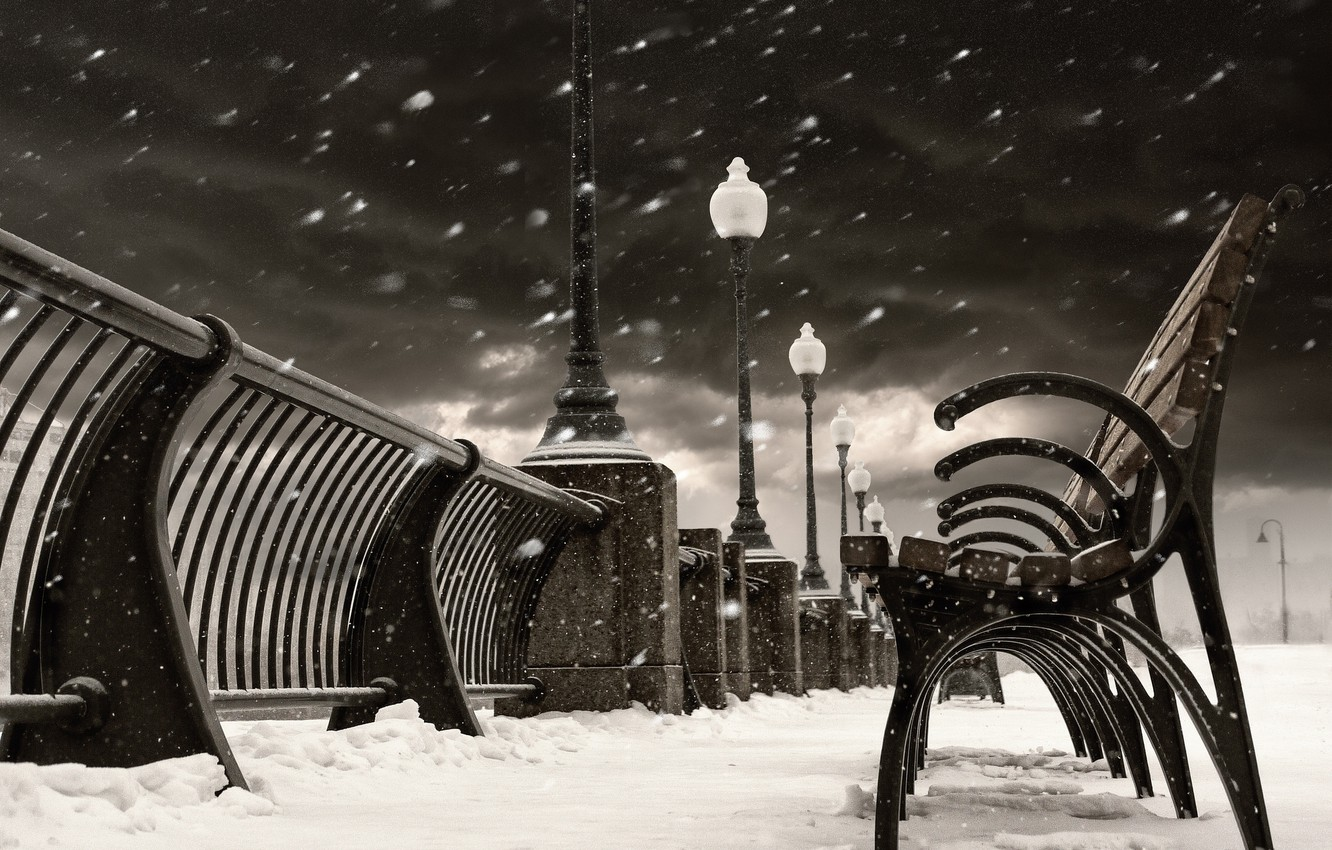Photo wallpaper winter, snow, the city, Canada, lights, Montreal, Canada, benches, benches, shop, Quebec, QC, Montreal