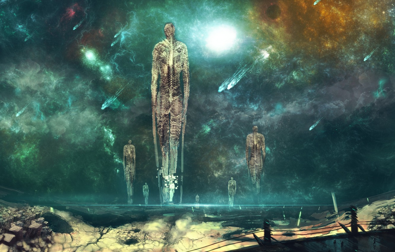Wallpaper space, nebula, stones, fiction, planet, art, comet, skeleton,  nishio nanora, ascension images for desktop, section фантастика - download
