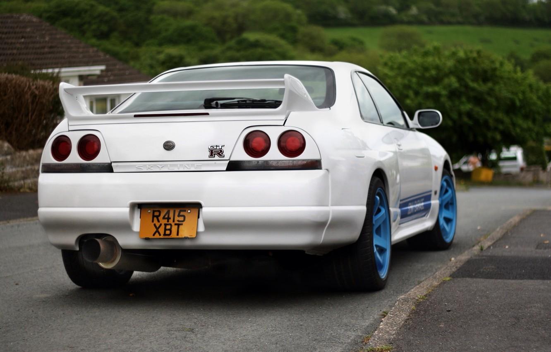 Photo wallpaper White, Nissan, Nissan, Car, Car, Blue, White, Skyline, Tuning, Skyline, Wheels, R33