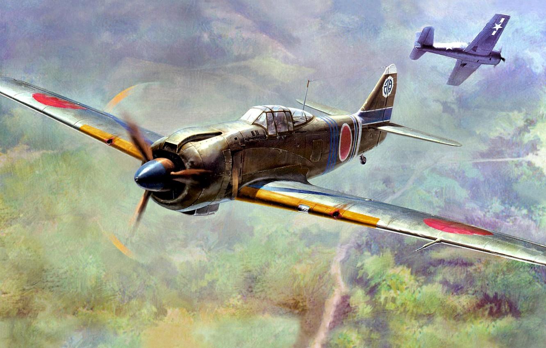 Photo wallpaper figure, art, Japanese, fighter-interceptor, WW2, single, Kawasaki Ki-100-IIb, all-metal construction