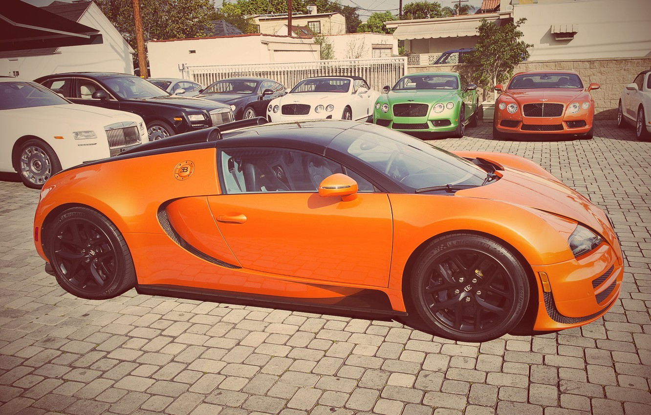 Photo wallpaper Bugatti, Grand, Veyron, Orange, Sport, Vitesse