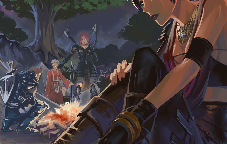 Photo wallpaper Morrigan, Dragon Age, Leliana, Alistair, Wynn