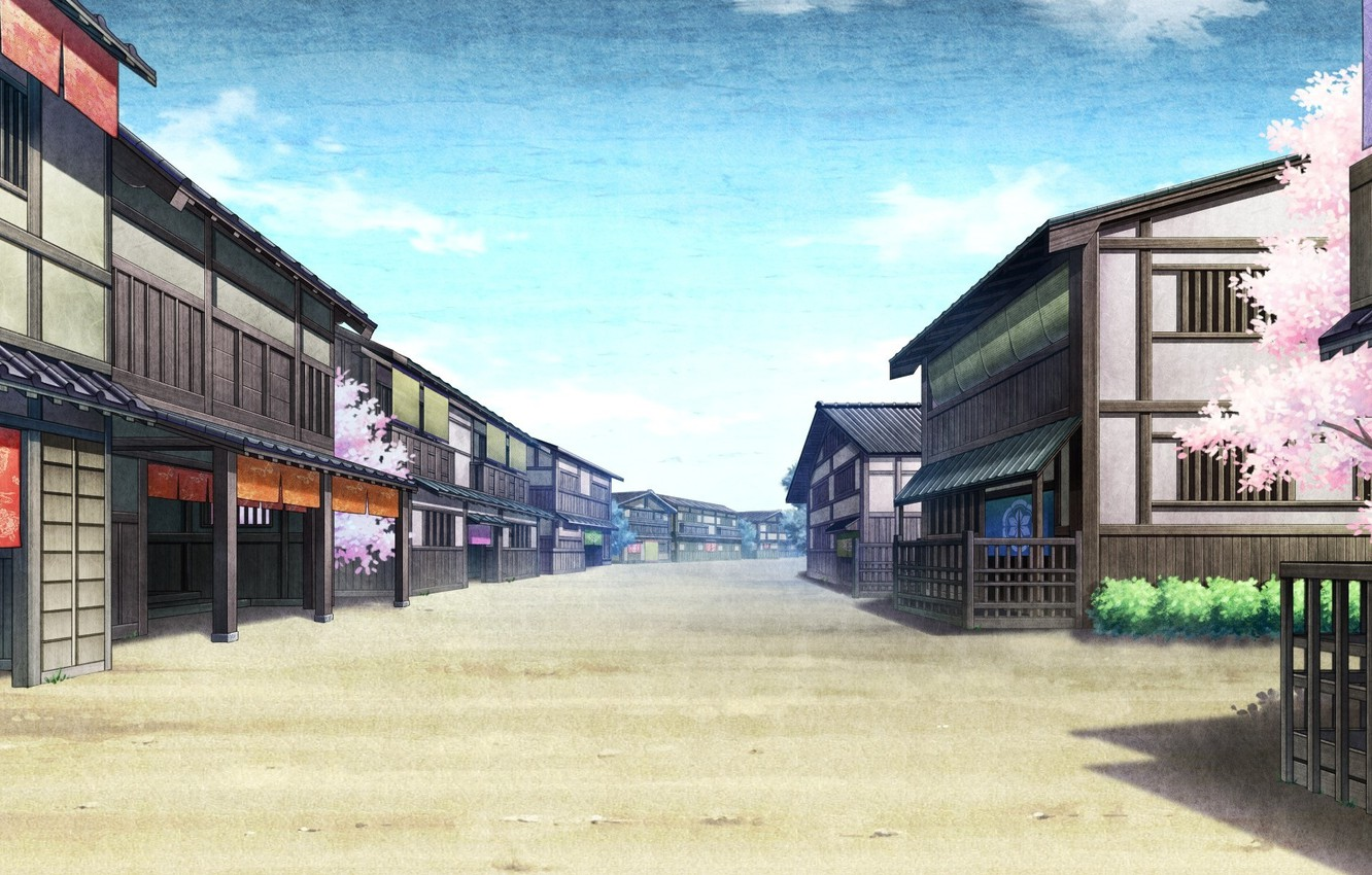 Photo wallpaper the sky, street, home, Sakura, Japan, game, Kaji wait to wring Kaguya, deserted