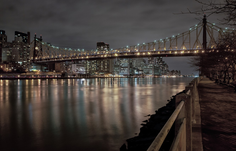 Photo wallpaper night, city, the city, lights, lights, Park, building, New York, Bridge, benches, bridge, night, park, …
