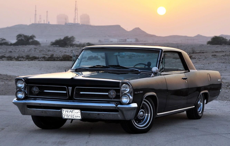 Photo wallpaper the sky, the sun, black, horizon, classic, Pontiac, Pontiac, the front, Grand Peaks, Grand Prix, …