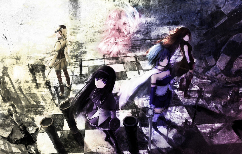 Photo wallpaper weapons, girls, sword, anime, art, mahou shoujo madoka magica, homura akemi, madoka kaname, sayaka miki, …