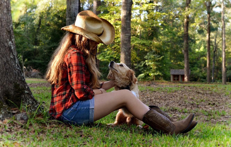 Photo wallpaper grass, girl, sunset, tree, dog, hat, house, sitting