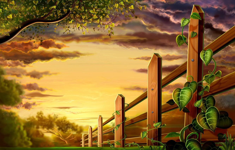Photo wallpaper leaves, figure, plants, The fence