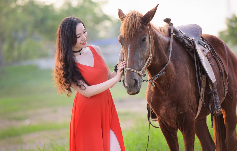 Photo wallpaper summer, girl, smile, horse, horse, dress, Asian