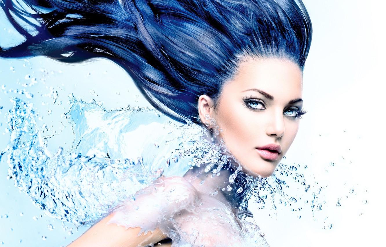 Photo wallpaper water, splash, hair, look, effects