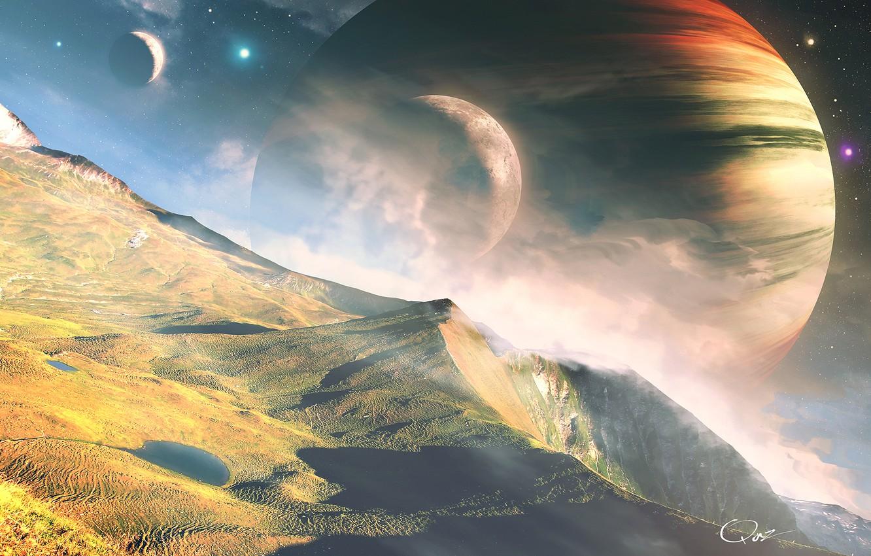 Photo wallpaper space, landscape, mountains, planet, stars, QAuZ