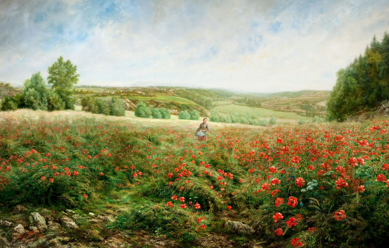 Photo wallpaper field, girl, trees, landscape, flowers, hills, Maki, picture, JACOB PHILIPP HACKERT