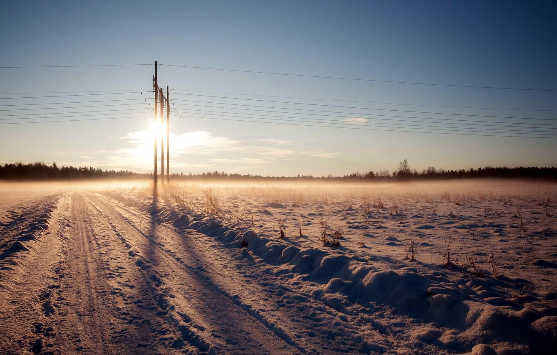 Photo wallpaper winter, road, landscape