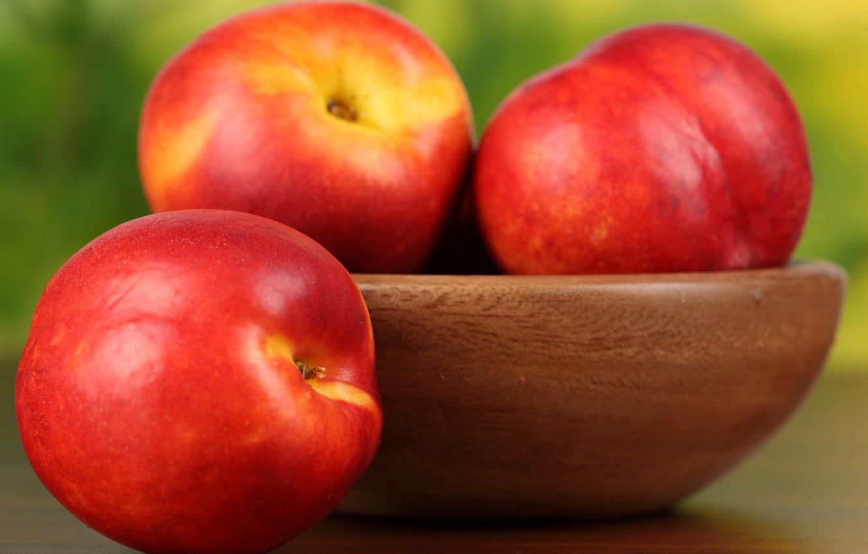 Photo wallpaper plate, fruit, peaches, nectarine