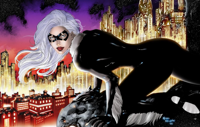 Photo wallpaper the sky, eyes, look, stars, the city, height, mask, art, costume, white hair, marvel, cat …
