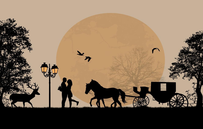 Photo wallpaper trees, love, birds, romance, horse, pair, love, deer, cart, trees, birds, couple, horse, romance, deer, …