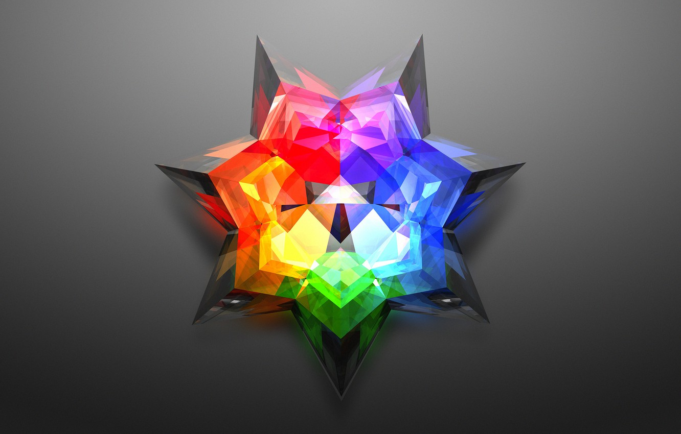 Photo wallpaper star, color, grey background