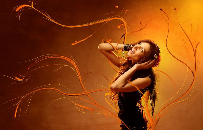 Photo wallpaper Girl, headphones, Gas