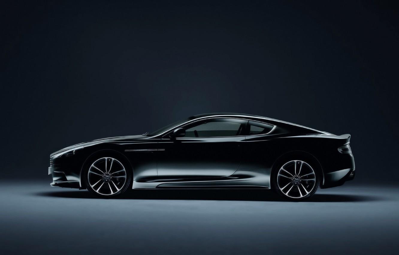 Photo wallpaper Aston Martin, Auto, Vantage, Black, Machine, Coupe, Side view