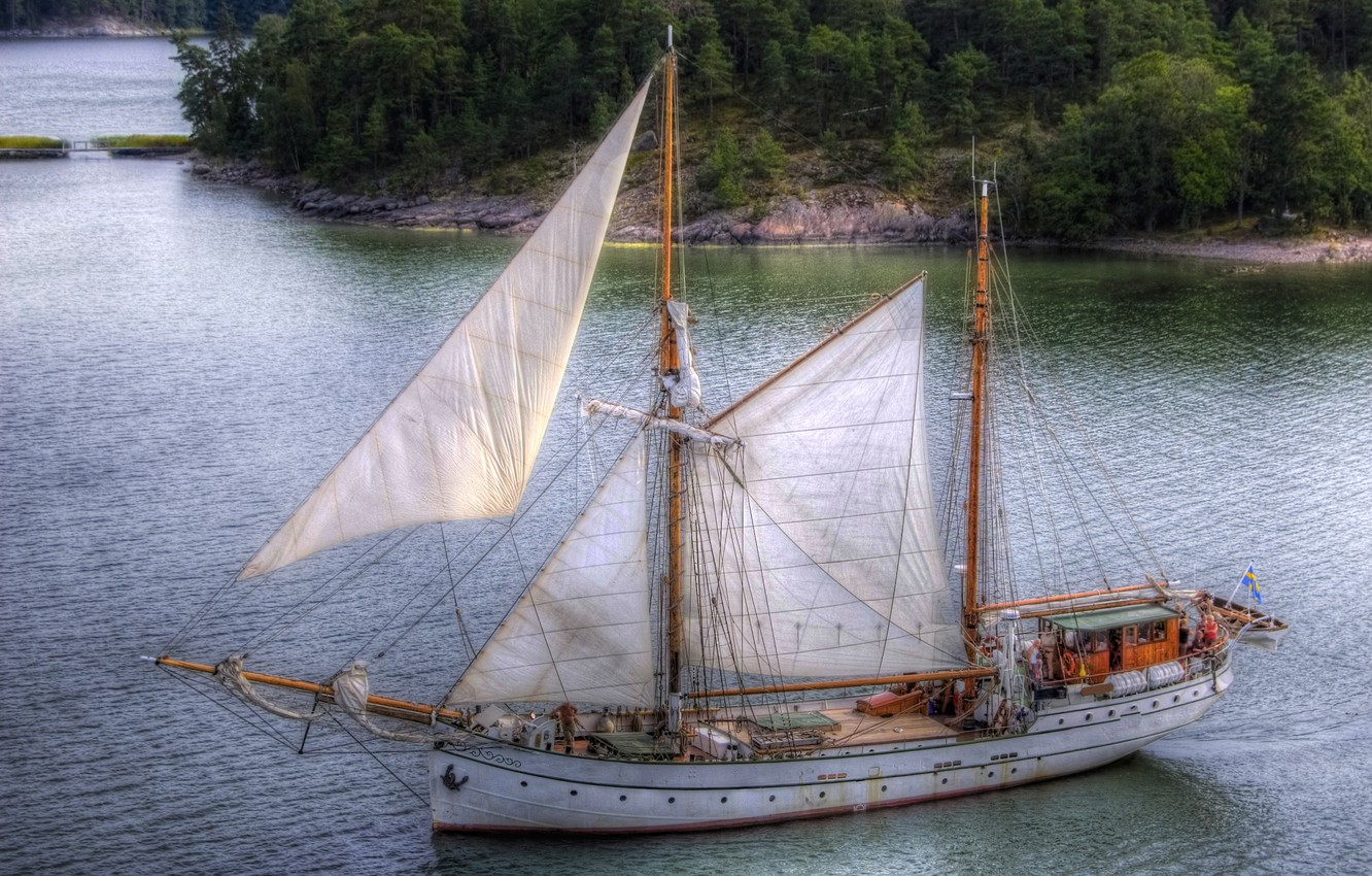 Photo wallpaper forest, river, photo, ship, sailboat