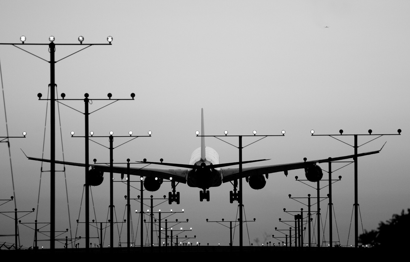Wallpaper Lights Aircraft Plane Landing Black And White