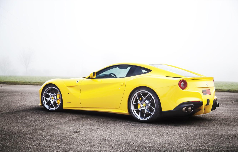 Photo wallpaper Fog, Yellow, Sport, Ferrari, F12, Poisonous, Super Kar