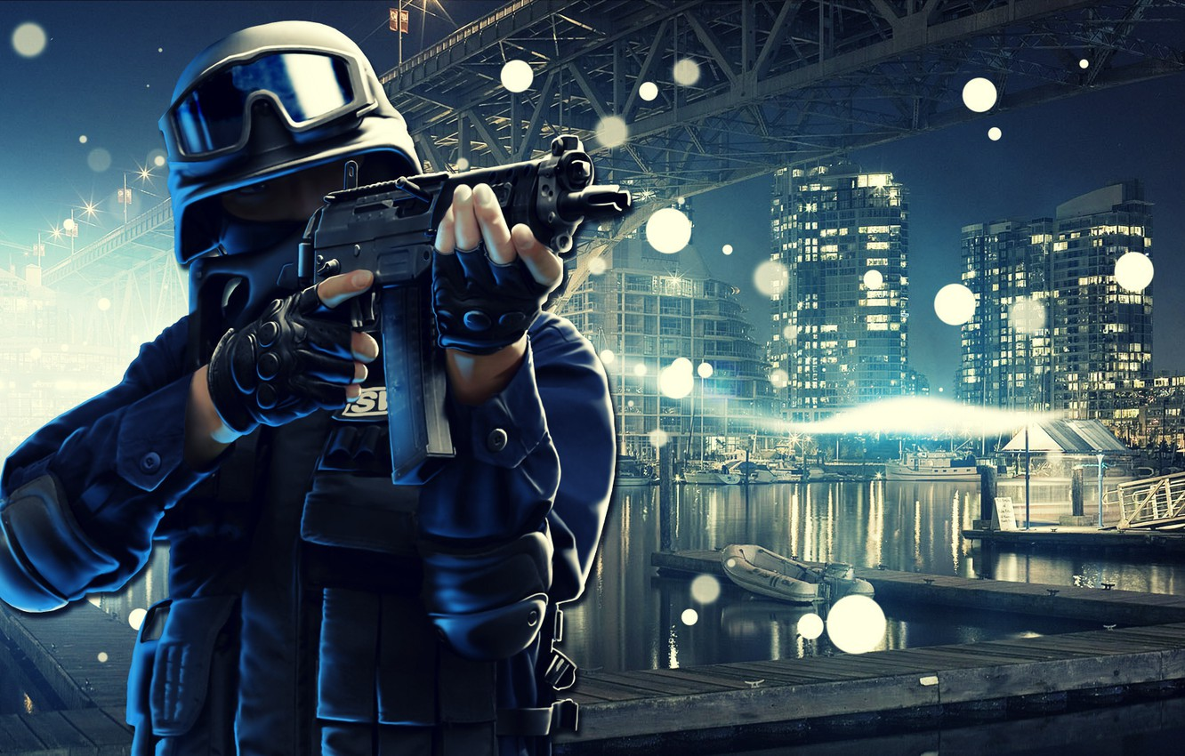 Wallpaper Night The City Weapons Shooting Swat Images