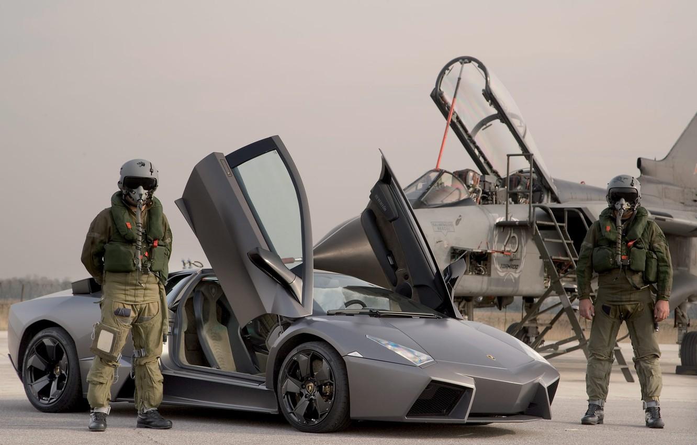 Photo wallpaper Lamborghini, The plane, Pilots