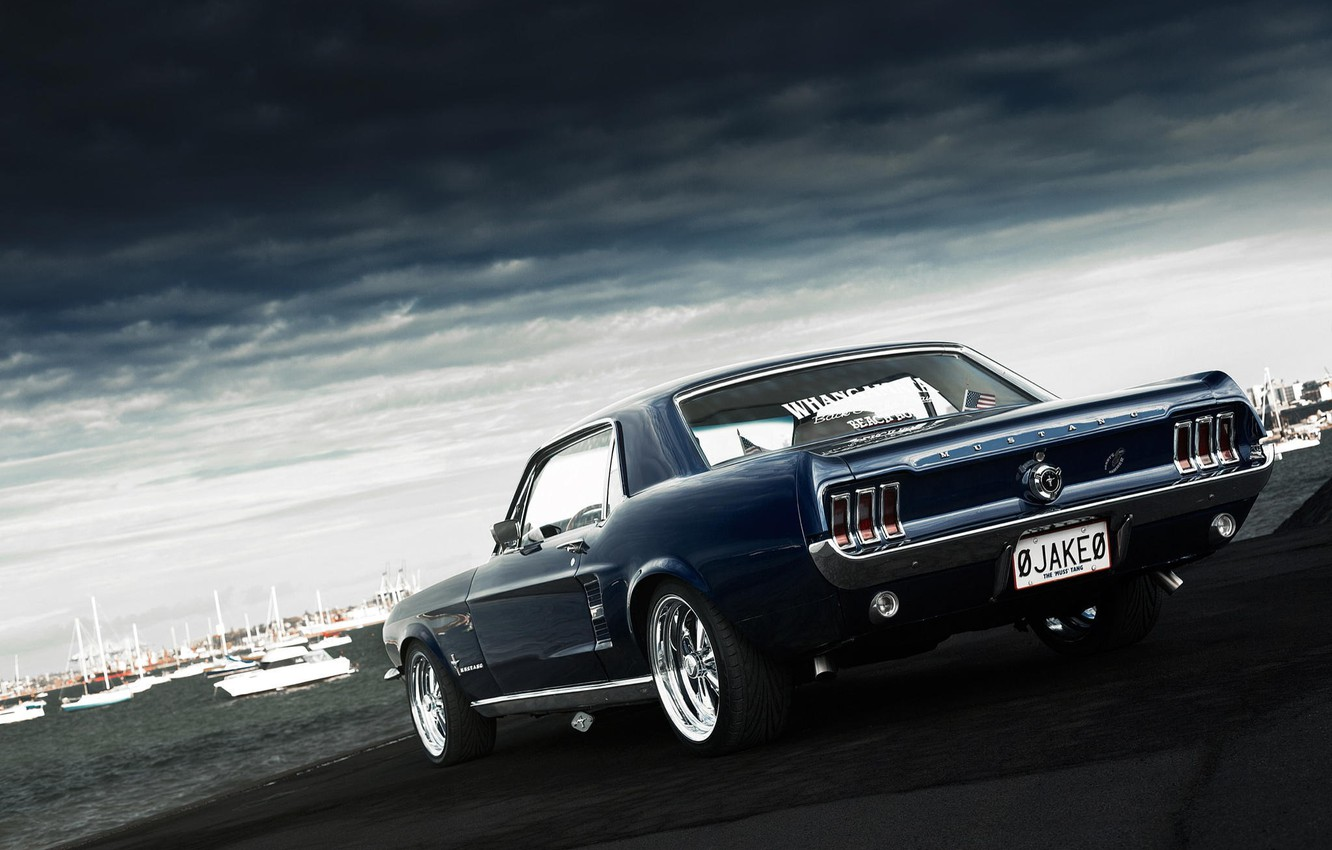 Photo wallpaper Mustang, Ford, Mustang, muscle car, Ford, muscle car, 1967, rear, Jake, Andrei Diomidov
