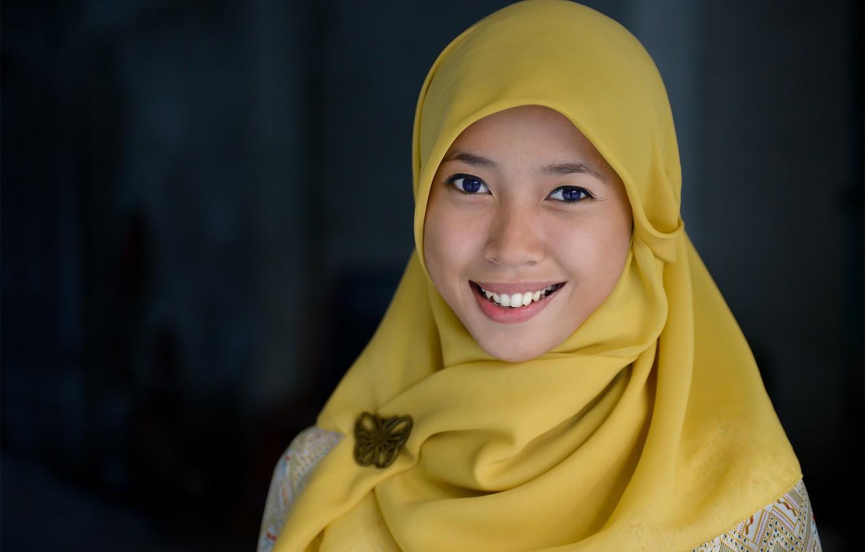 Photo wallpaper girl, blue eyes, Indonesia, Islam, Ulrika, Jakarta