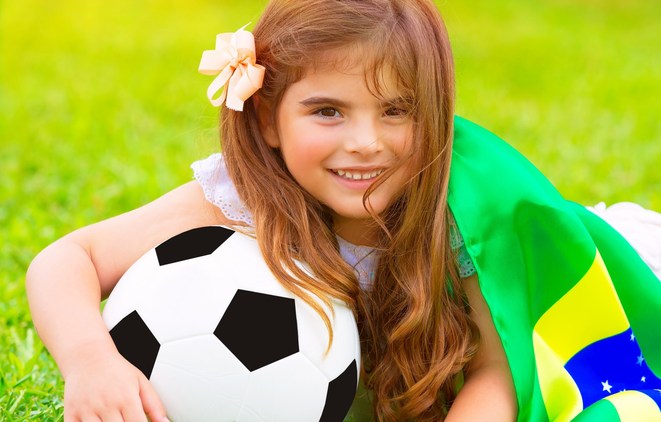 Photo wallpaper summer, football, the ball, flag, girl