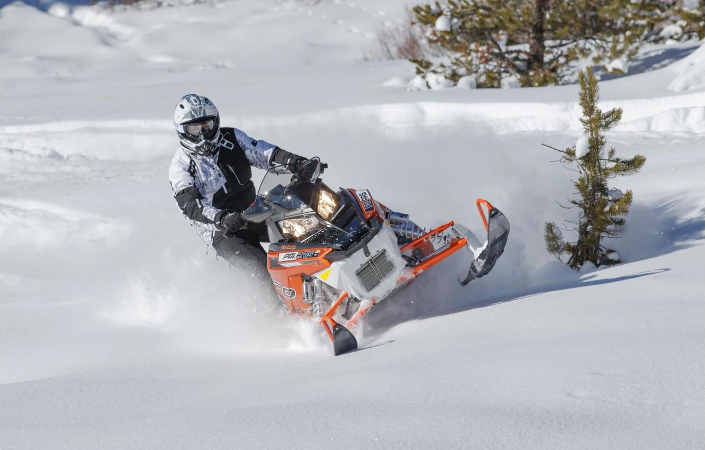 Photo wallpaper orange, Snow, Snow, snowmobile, Polaris, snowmobile, Polaris