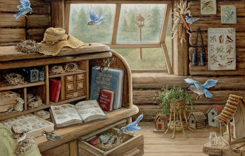 Wallpaper Summer Art Notepad Book House The Study