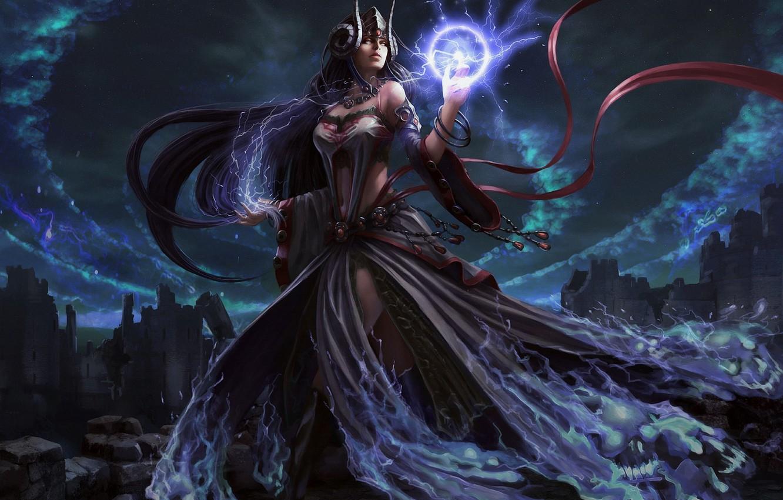 Photo wallpaper girl, magic, art, helmet, Lord of the Dragons