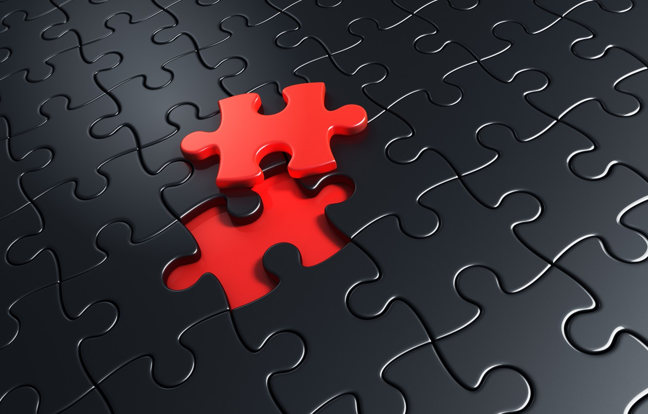 Photo wallpaper red, black, puzzle