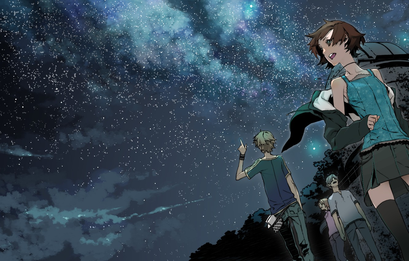 Photo wallpaper Miwa Shirow, supercell, starry sky