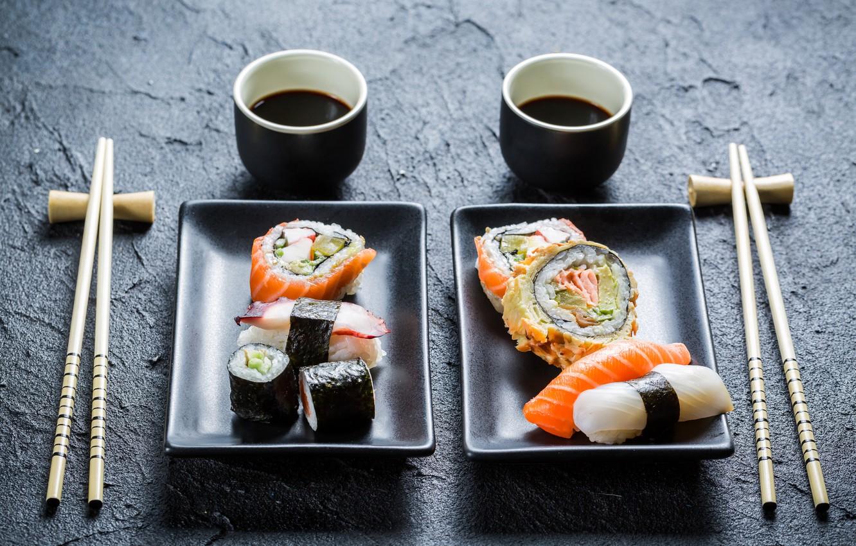 Photo wallpaper sticks, yummy, design, rolls, sushi, sushi, rolls, Japanese cuisine, soy sauce, design, sticks, soy sauce, …
