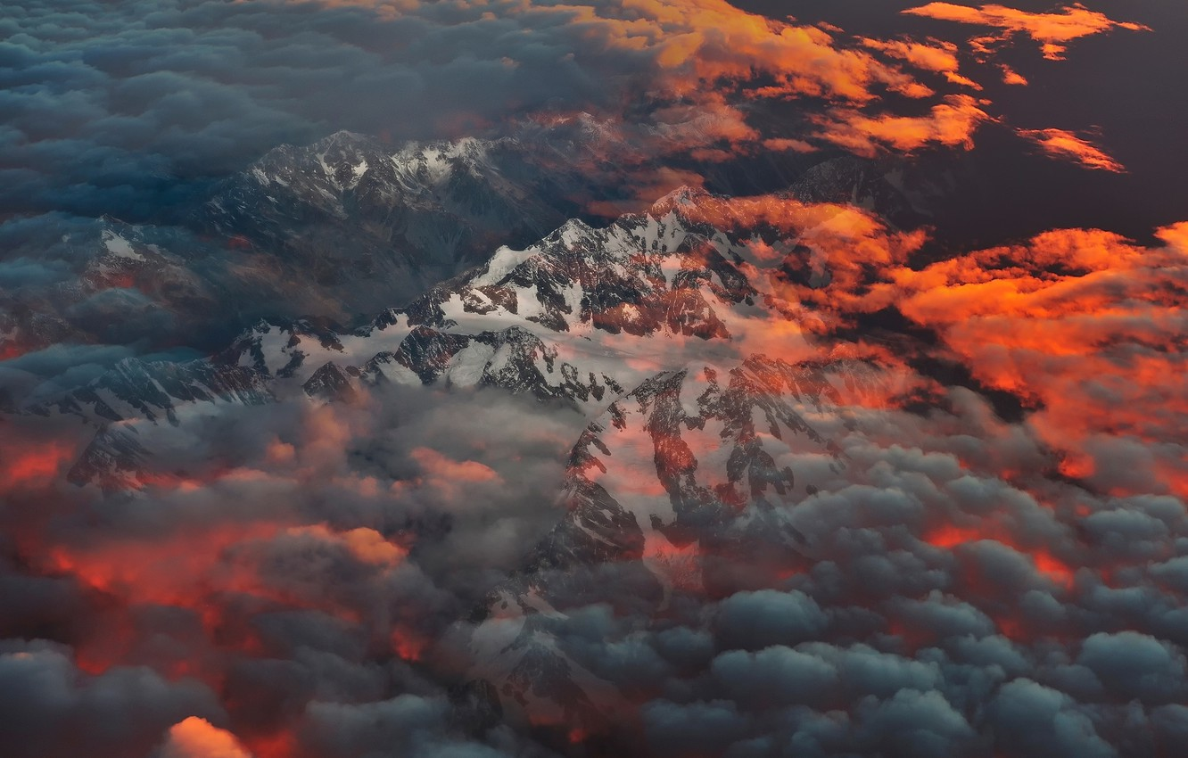Photo wallpaper clouds, mountains, morning, New Zealand, South island, Southern Alps