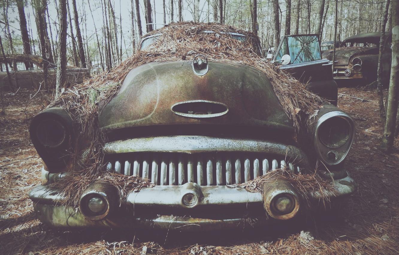 Photo wallpaper cemetery, retro, old cars