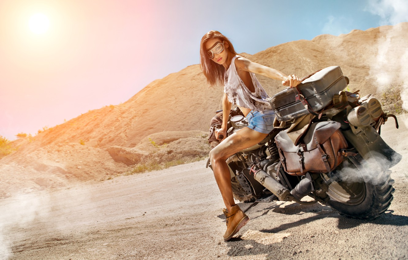 Photo wallpaper road, girl, the sun, smoke, shorts, shoes, Mike, figure, glasses, hairstyle, motorcycle, biker, brown hair, …